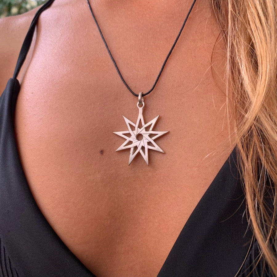 Nine point Bahai Star silver pendant necklace
