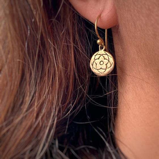 Rose Of Venus Sacred Geometry Brass Earrings