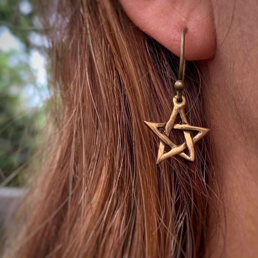 Pentagram Brass earrings