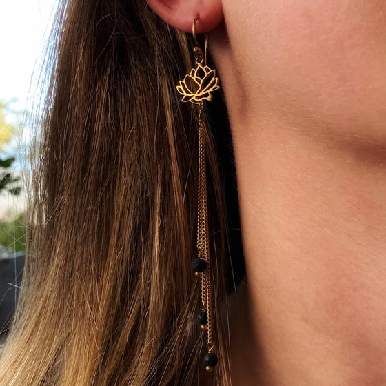 Lotus Earrings brass chain & Lava Stone