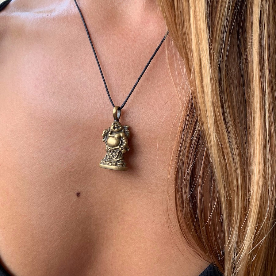 Laughing Buddha brass pendant necklace