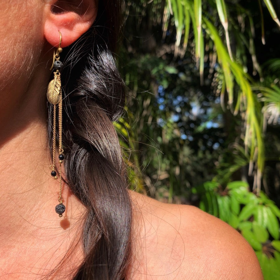 Feather Earrings brass chain & Lava Stone