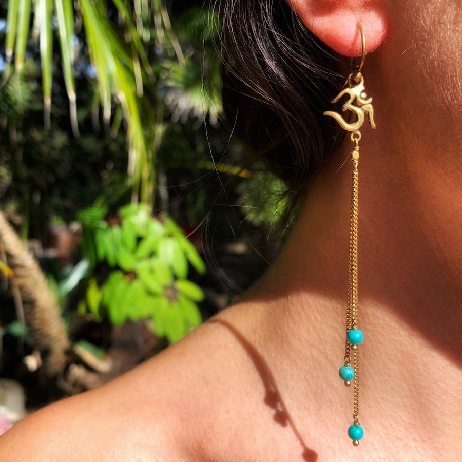 Om Yoga Earrings brass chain & Turquoise