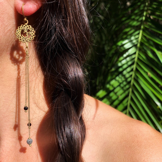 Crown Chakra Om Yoga Earrings brass chain & Lava Stone