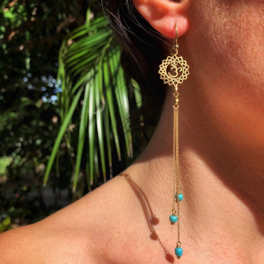 Crown Chakra Om yoga Earrings brass chain & Turquoise