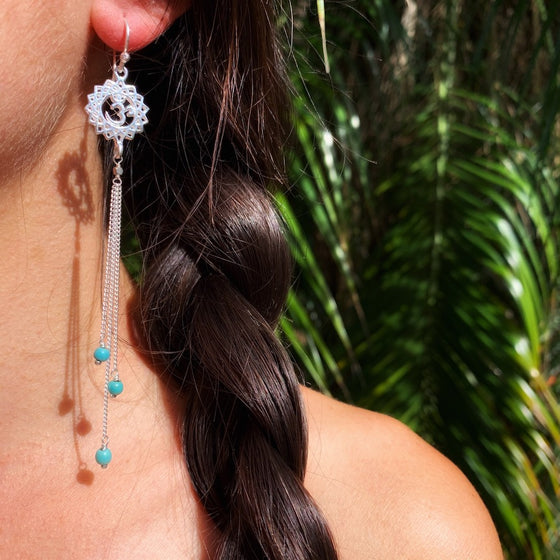 Crown Chakra Om Yoga Earrings silver chain & Turquoise