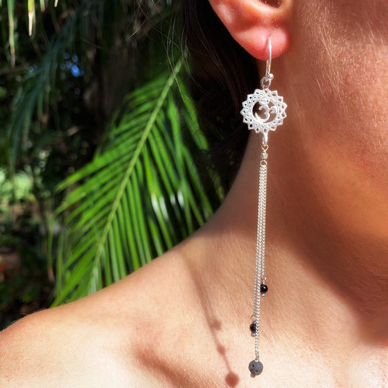 Crown Chakra Om Yoga Earrings silver chain & Lava Stone