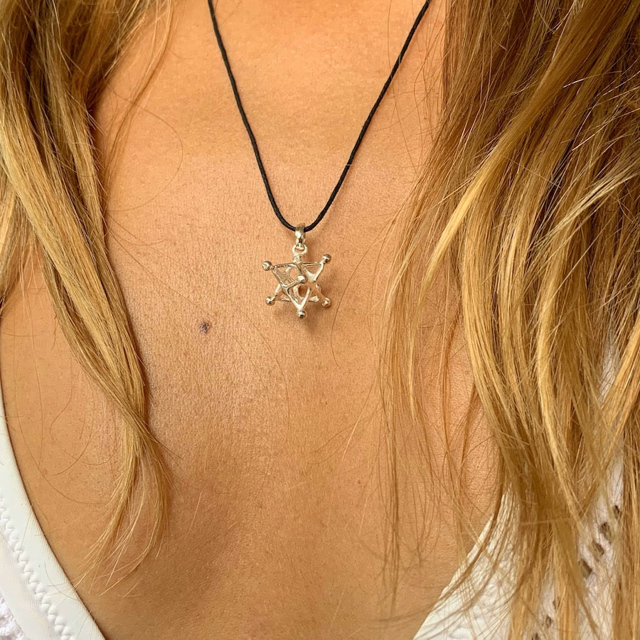 Merkaba Silver Pendant Tantric Star Sacred Geometry Necklace