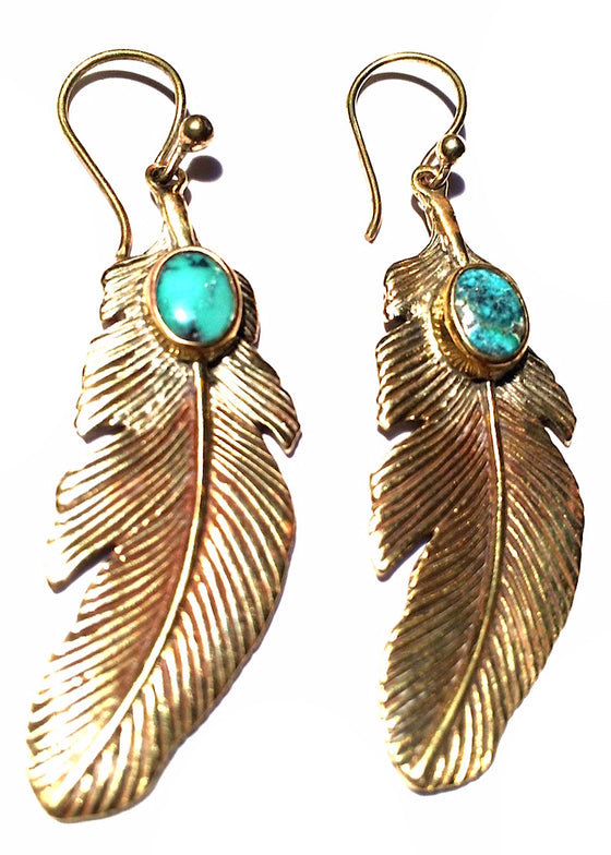These beautiful brass Eagle Feather Earrings with Turquoise stones are 5cm long and have brass earring hooks.