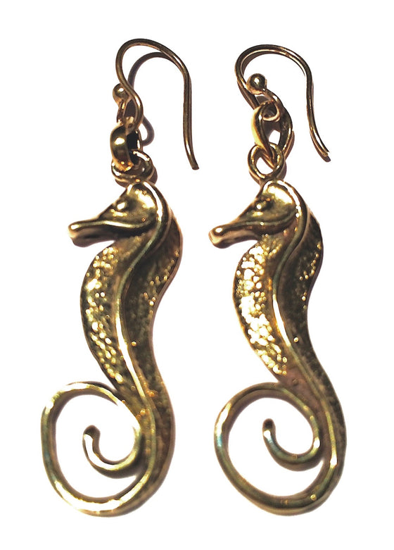 These beautiful brass Seahorse Earrings are 3cm long and have brass earring hooks.