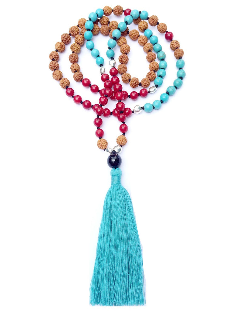 Mala prayer Beads yoga necklace handmade from turquoise, red coral, rudraksha