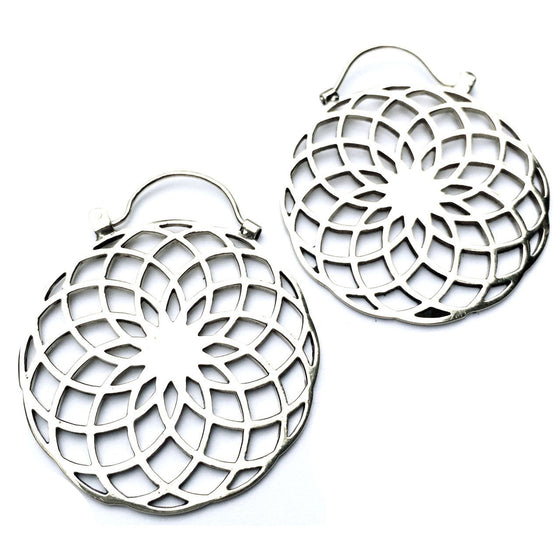 Sunflower Sacred Geometry Silver Earrings - Heart Mala