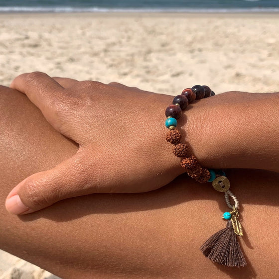 Boho Yoga Mala Bracelet, Red Tigers Eye, Turquoise, Rudraksha, Feather charm