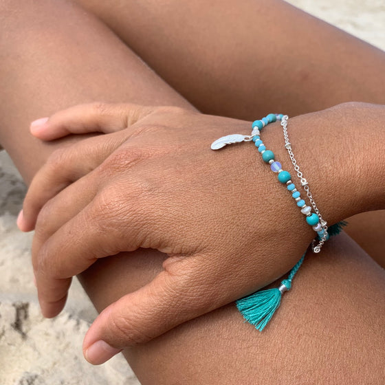 Yoga bracelet Turquoise handcrafted sterling silver feather charm