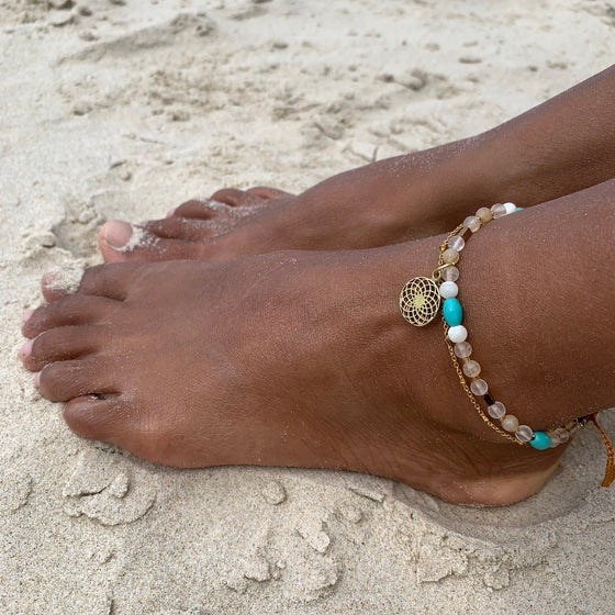 Sunflower Boho Gemstone Anklet, turquoise, citrine