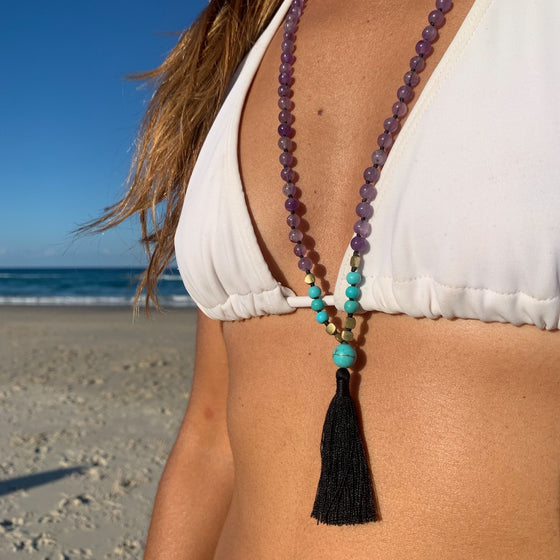 Amethyst & Turquoise Mala Beads handmade yoga necklace