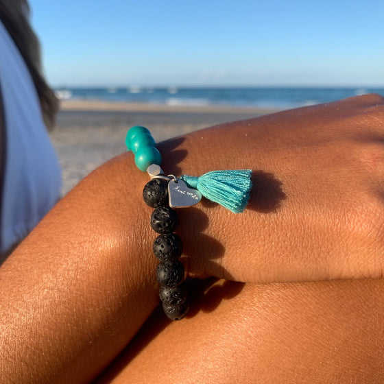 Lava and Turquoise Yoga Bracelet essential oil diffuser jewellery