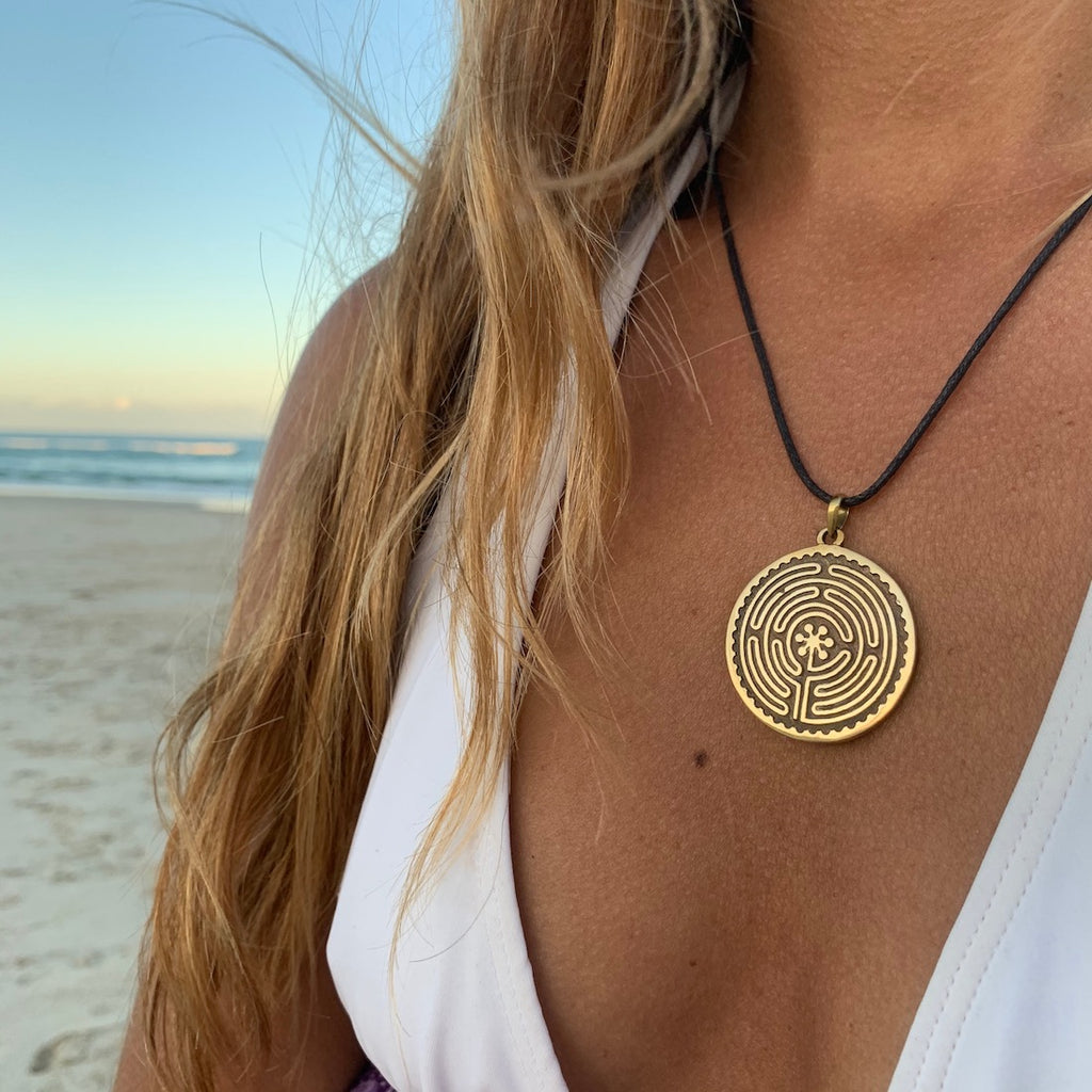 Labyrinth of Chartres Necklace Brass Pendant