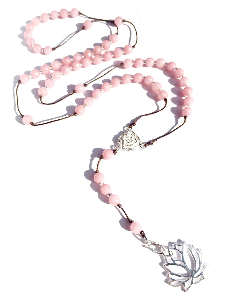 Rhodochrosite gemstone rosary beads necklace, silver Lotus pendant
