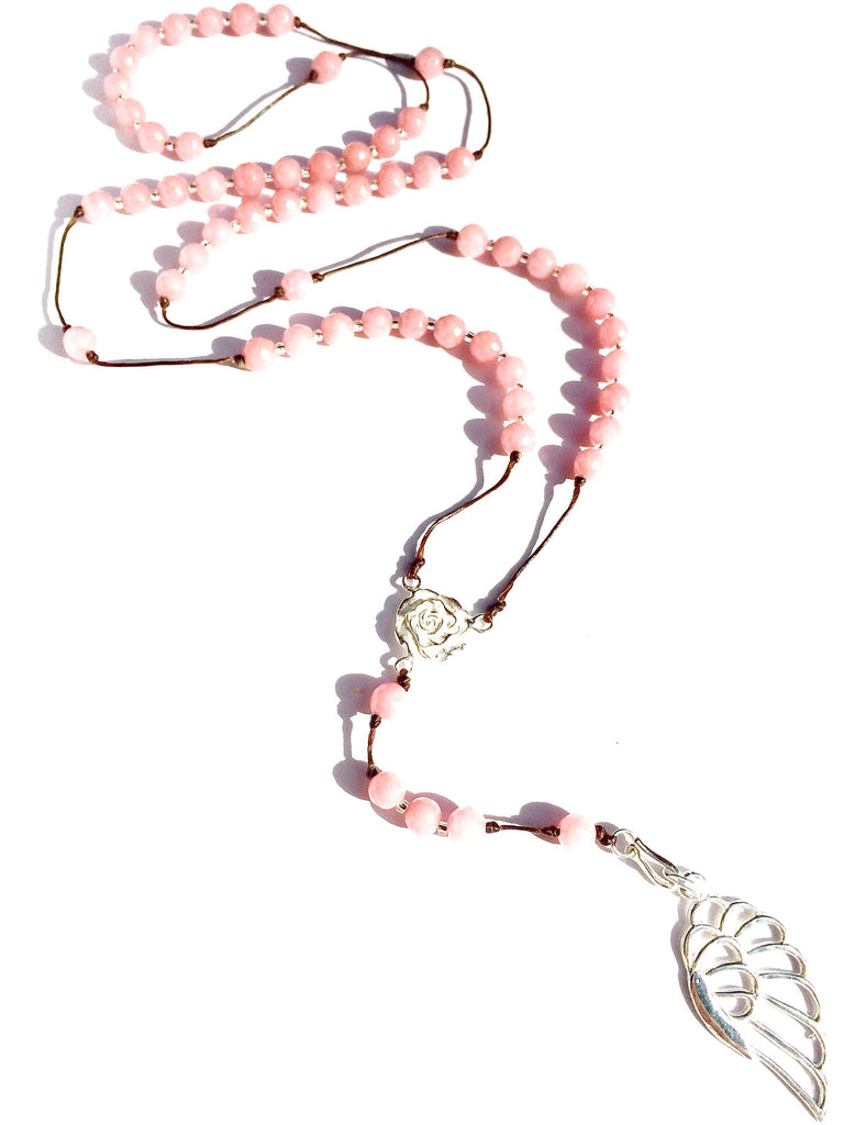 Rhodochrosite rosary beads, silver angel wing pendant handmade gemstone necklace