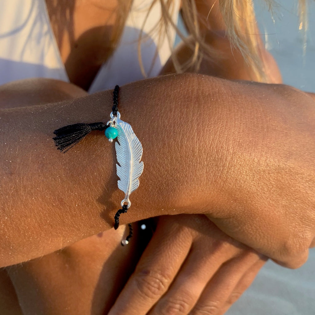 silver Feather charm bracelet with turquoise