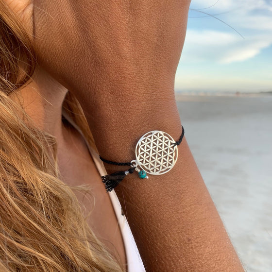 silver Flower Of Life charm bracelet with turquoise