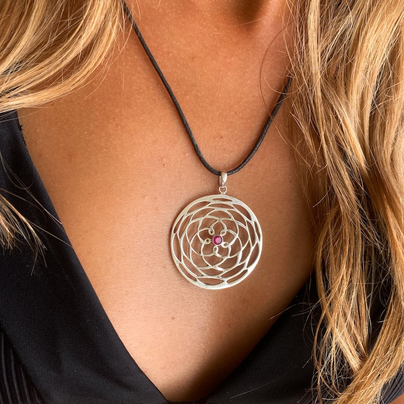 silver Rose Of Venus pendant sacred geometry necklace, Ruby Quartz stone