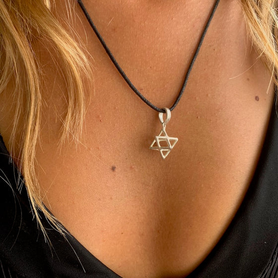 Merkaba Silver Pendant sacred geometry necklace