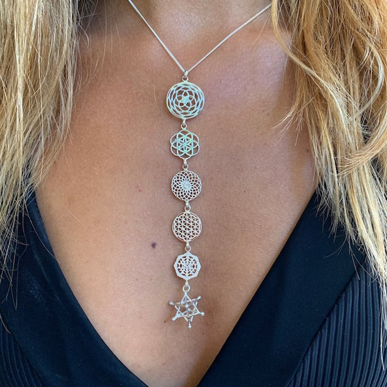 Sterling Silver Sacred Geometry Necklace linked yoga symbols Rose of Venus, Seed Of Life, Sunflower, Flower Of Life, Sri Yantra, Merkaba