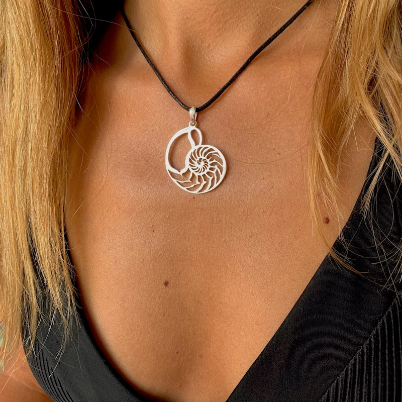 Nautilus Shell Sacred Geometry Silver Pendant Necklace