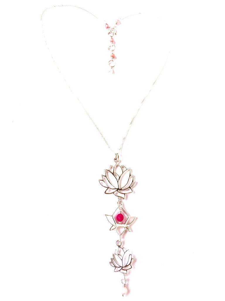 This gorgeous Triple Lotus linked necklace is handmade with love from Sterling Silver 925 and gemstones of the heart... Rhodochrosite & Rose Quartz. The Triple lotus necklace hangs beautifully from a silver chain which is easily adjusted to the desired length with Rose Quartz gemstone links.
