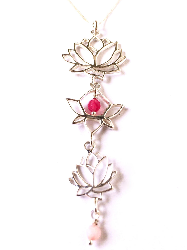 Lotus Linked Sterling Silver Yoga Necklace with heart healing gemstones