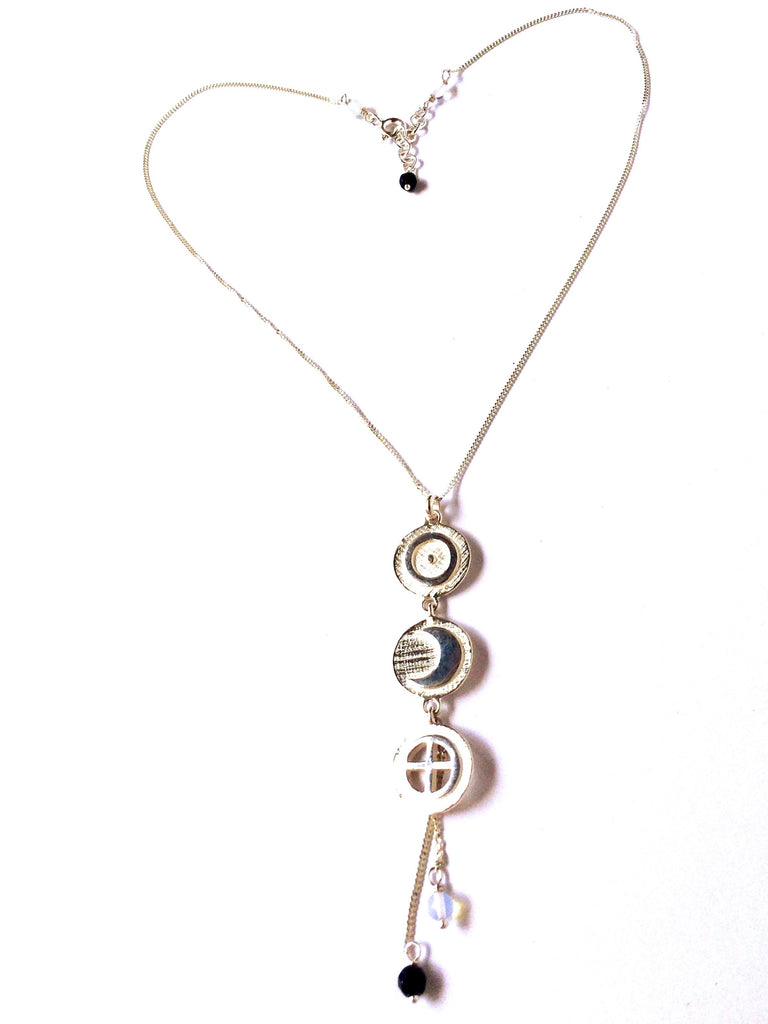Cosmic necklace ancient symbols Sun, Moon and Earth handcrafted Sterling Silver Yoga jewellery