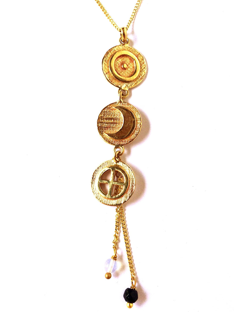 Cosmic brass necklace ancient symbols Sun, Moon and Earth handmade Yoga jewellery