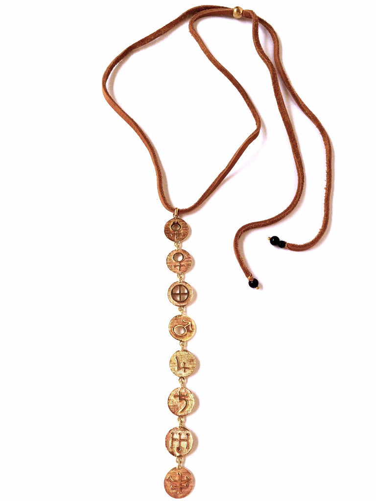 Brass Galactic Planetary Symbols Linked Necklace