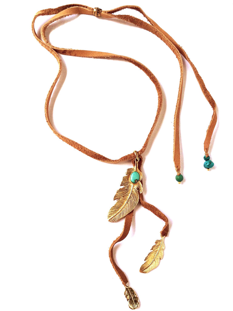 Triple Feather brass Pendant with Turquoise on suede Necklace