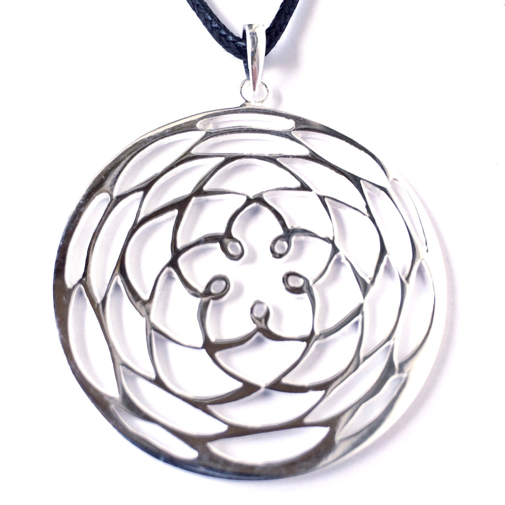 Silver  Rose Of Venus pendant sacred geometry necklace