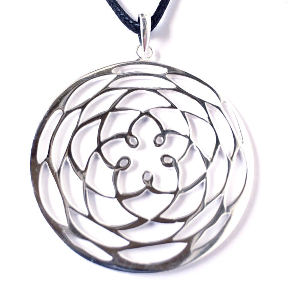 Rose Of Venus Silver Pendant - Heart Mala