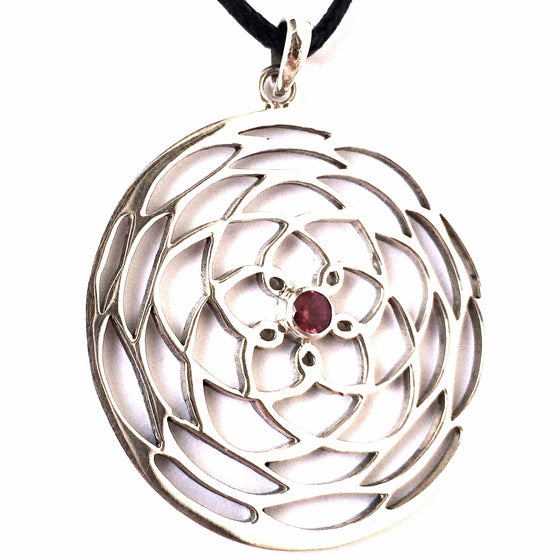 beautiful sterling silver plated Rose Of Venus pendant, 4cm long with a Ruby Quartz centre stone