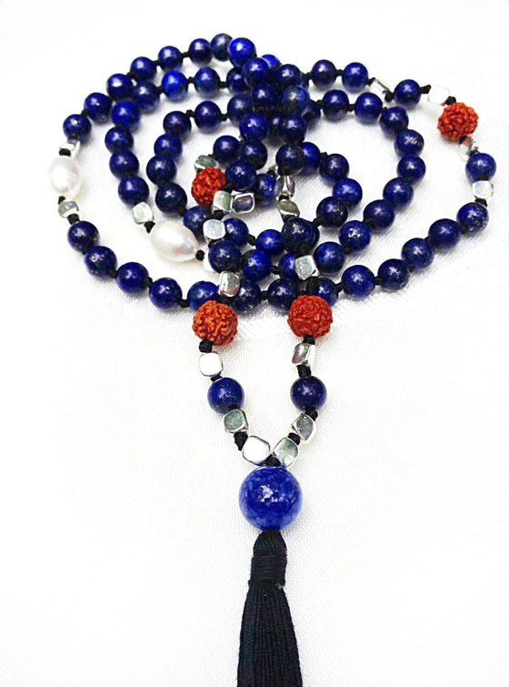Mala beads yoga necklace of Lapis Lazuli, rudraksha & Pearl