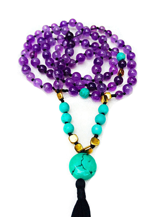 "Amethyst & Turquoise Mala Beads ""DIVINE EXPRESSION"" - Heart Mala Byron Bay"