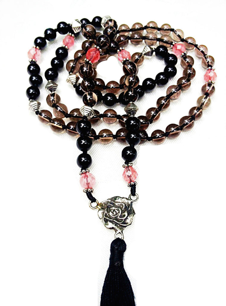 Mala prayer Beads yoga necklace handmade from healing gemstones Smokey Quartz, Onyx