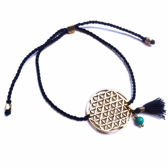 brass Flower Of Life charm bracelet with turquoise - Heart Mala