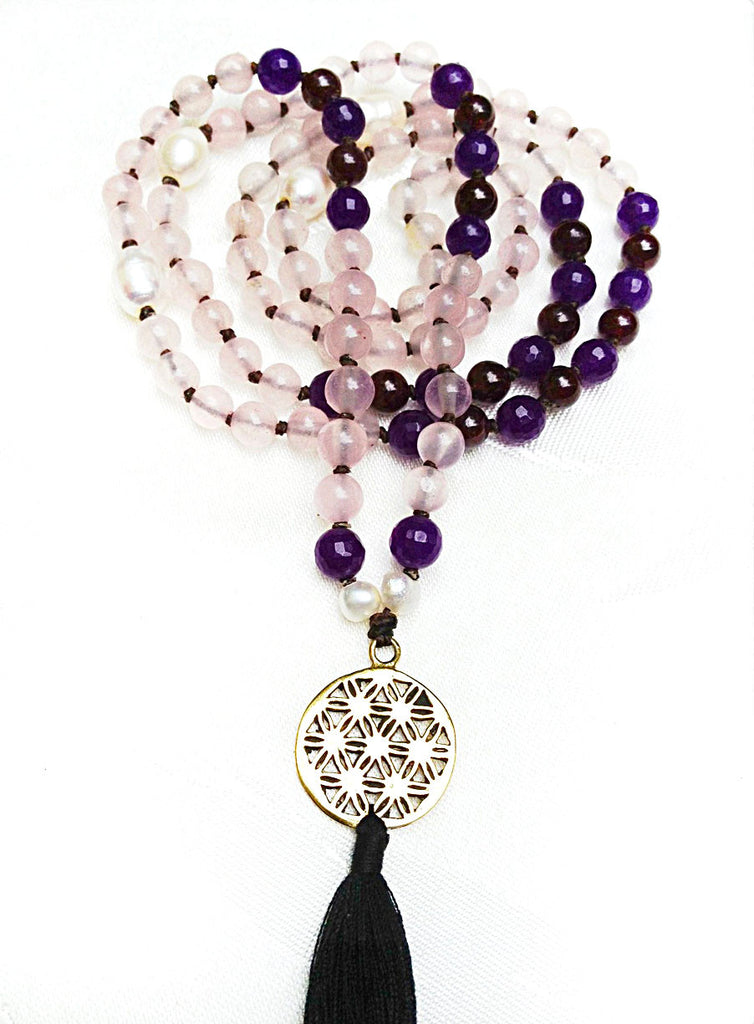 Mala beads yoga necklace with Flower Of Life sacred geometry pendant and gemstones of Rose quartz, amethyst & garnet
