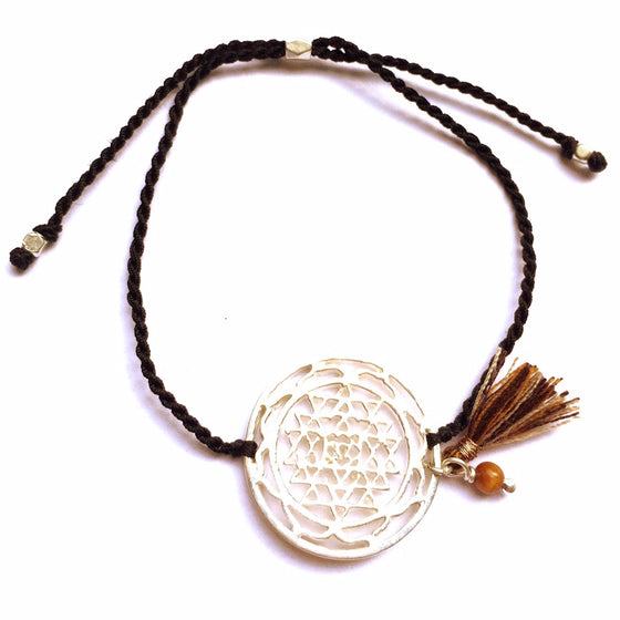 silver Sri Yantra charm bracelet with tigers eye - Heart Mala