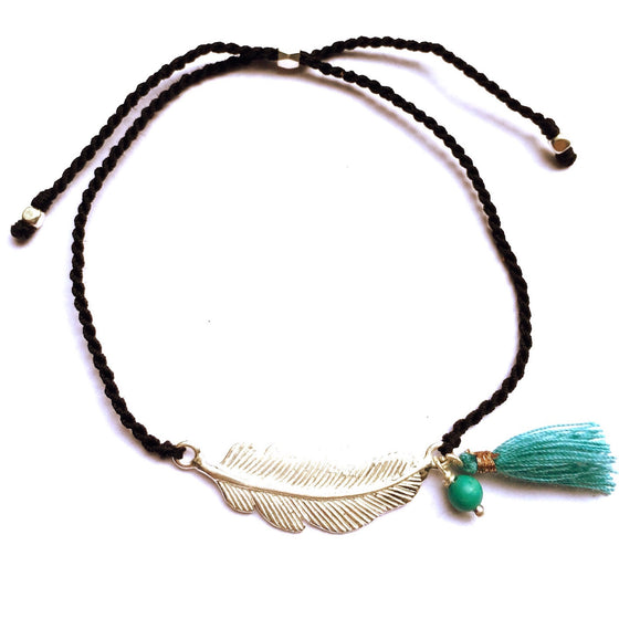 silver Feather charm bracelet with turquoise - Heart Mala