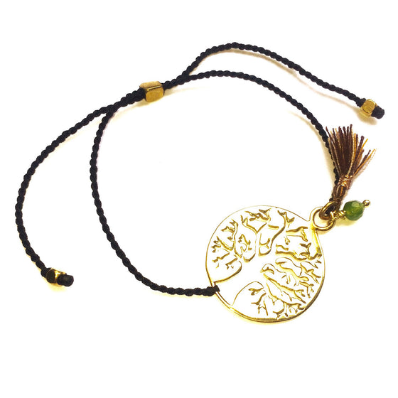 brass Tree Of Life charm bracelet with Green Agate - Heart Mala