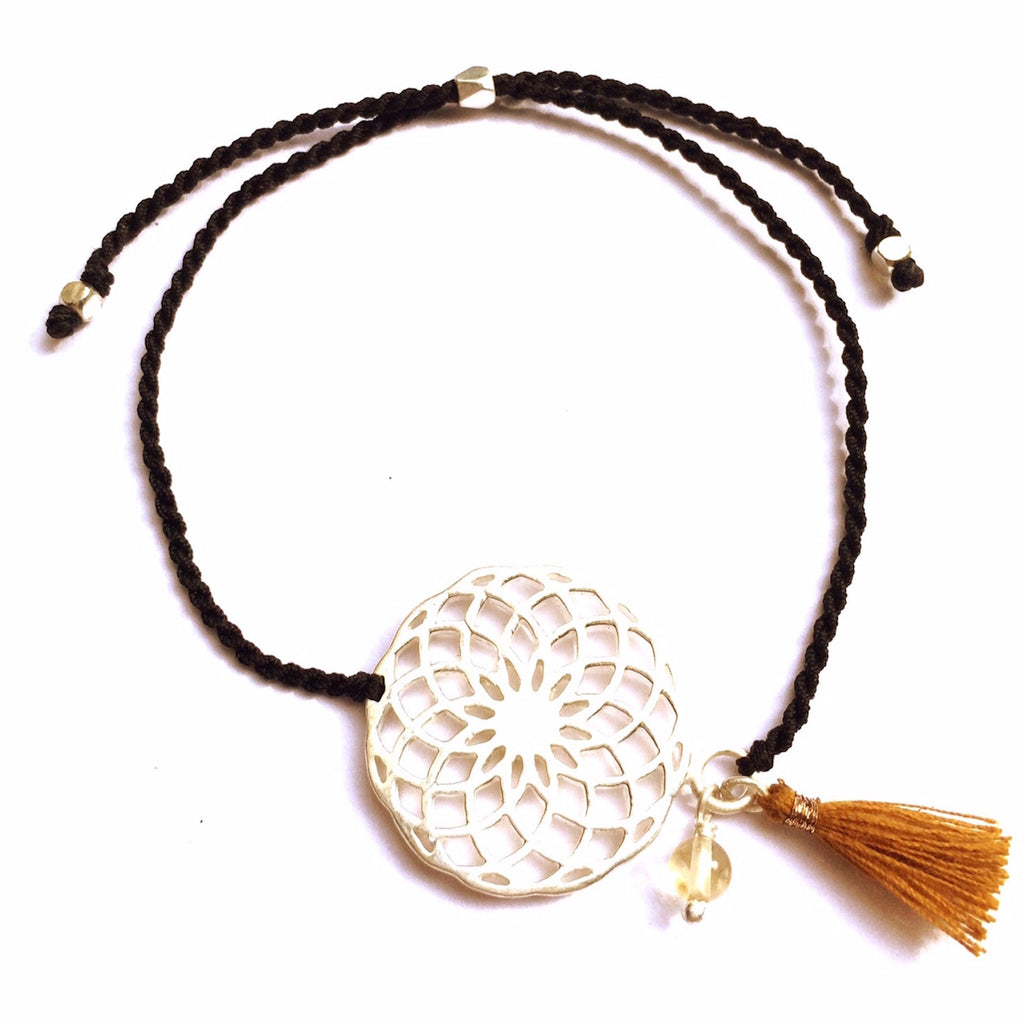 silver Sunflower charm bracelet with citrine - Heart Mala