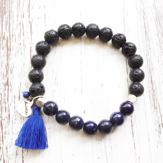 Lava and Lapis Lazuli Yoga Bracelet essential oil diffuser jewellery