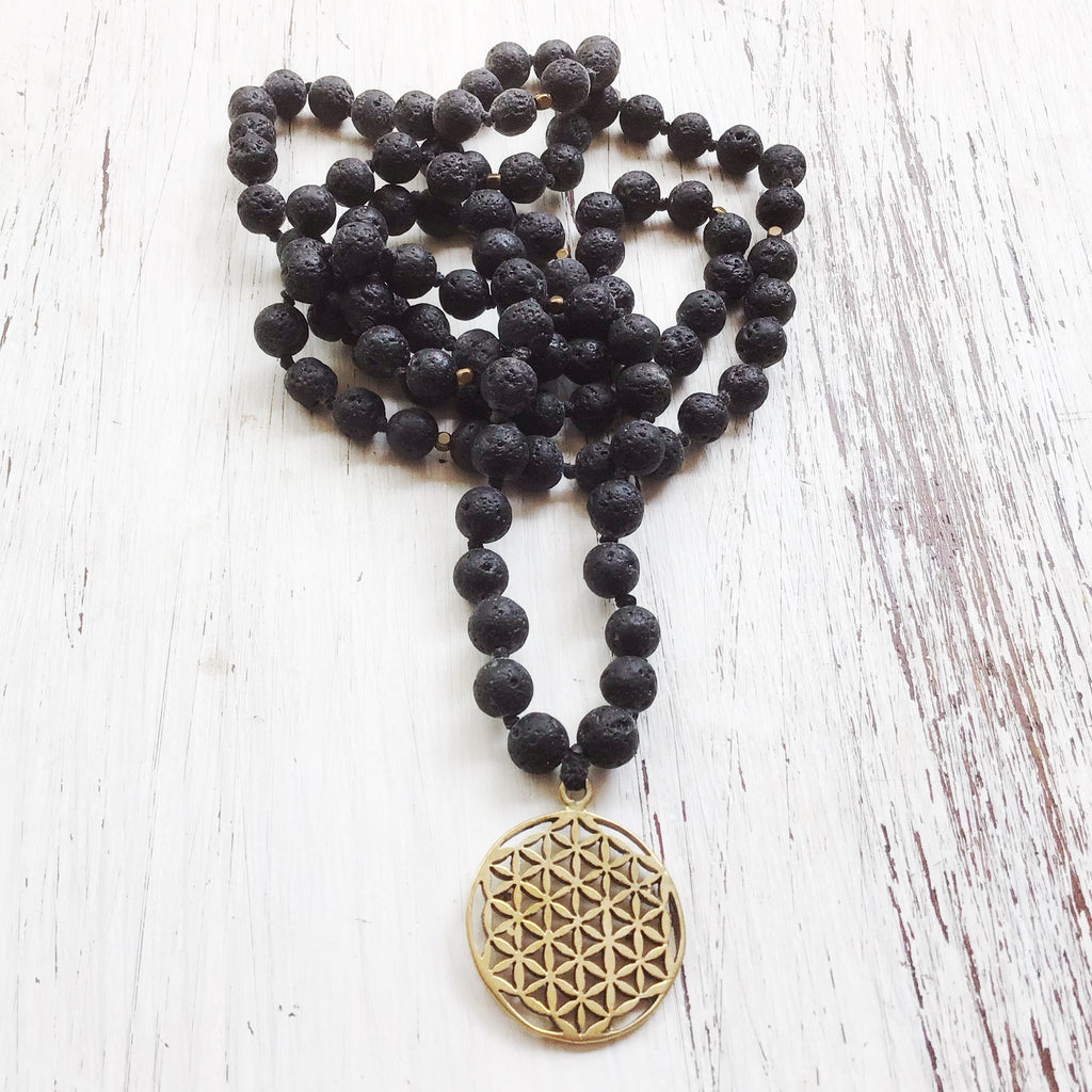 Lava Mala Prayer Beads yoga necklace brass Flower Of Life sacred geometry pendant
